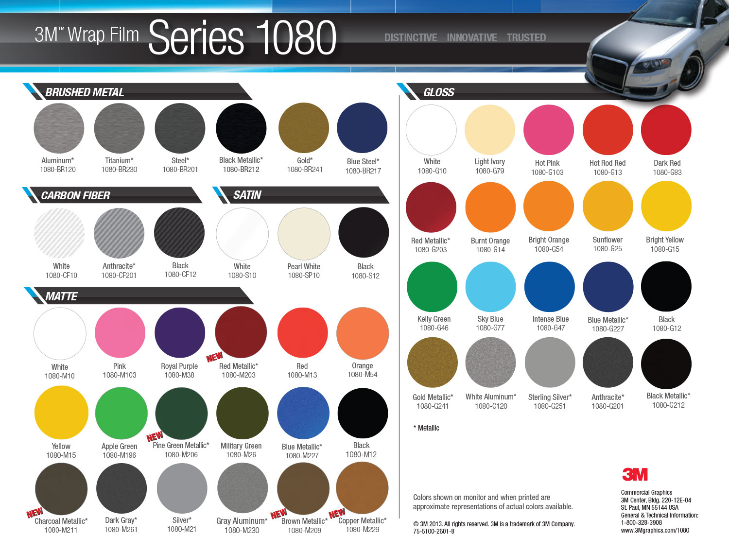 3M 1080 Color options - Vehicle Graphics